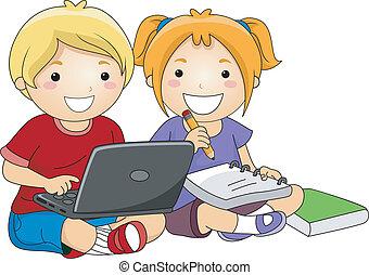 usando computador portátil, crianças, estudo
