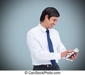 usando computador, tabuleta, homem