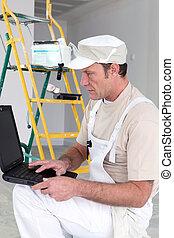 usando computer portatile, computer, pittore