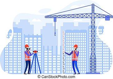 usando, conceito, conduta, estação, local, agrimensores, total, construção, medindo, theodolite, instruments., examinar