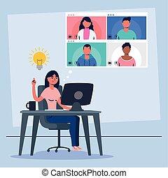 usando, conferenza, comunicazione, desktop, virtuale, donna