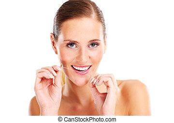 usando, dentale, donna, filo seta