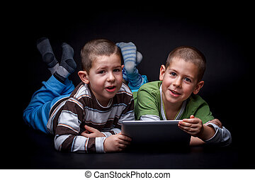 usando, eletrônico, crianças, tabuleta