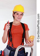 usando, elettricista, voltmeter, femmina