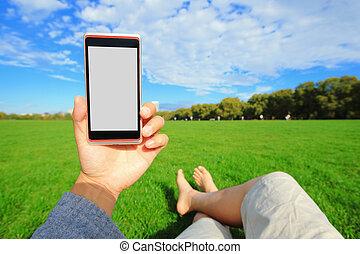usando, esperto, telefone, com, natureza
