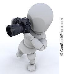 usando, homem câmera