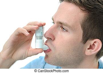 usando, inalador, asma, jovem, homem