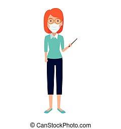usando, insegnante, isolato, faccia femmina, icona, maschera