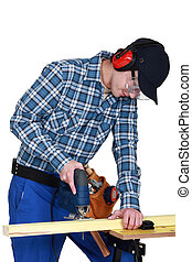 usando, jigsaw, woodworker
