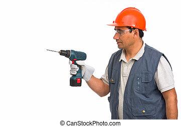 usando, lavoratore, trapano elettrico, cordone