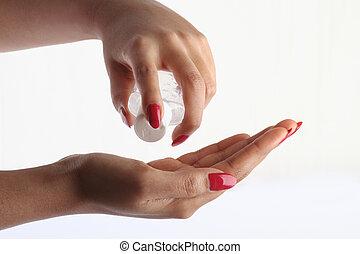 usando, mão, sanitizer, -, higiene, conceito