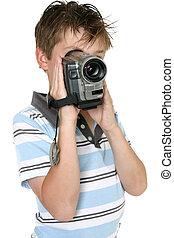 usando, macchina fotografica, video, digitale
