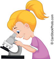 usando, menina, microscópio, caricatura, jovem