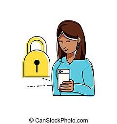 usando, mulher, smartphone, padlock