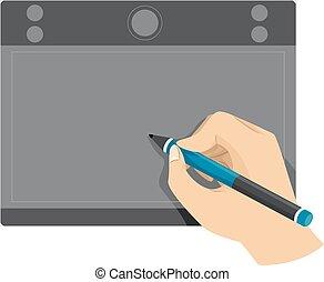 usando, penna, tavoletta, mano
