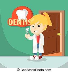 usando, ragazza, dentista, costume