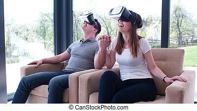 usando, realidade virtual, par, headset