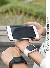 usando, relógio, wearable