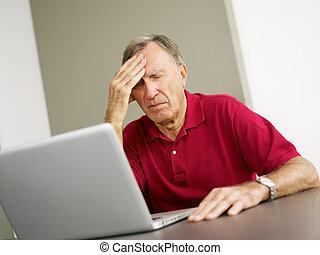 usando, sênior, computador, laptop