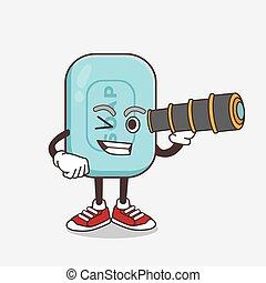 usando, sabonetes, azul, personagem, monocular, caricatura, mascote