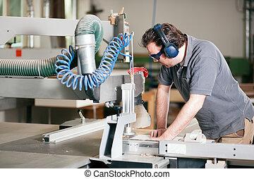 usando, sega, carpentiere, elettrico