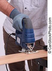 usando, serra, carpinteiro, elétrico