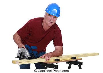 usando, serra, elétrico, carpinteiro