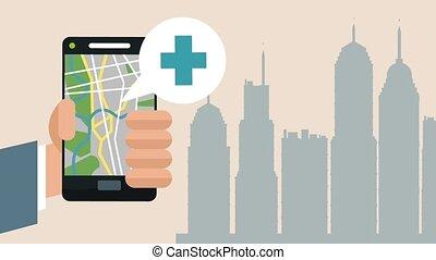 usando, smartphone, con, gps, app, hd, animazione