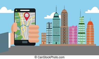 usando, smartphone, gps, città, hd, animazione