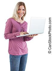 usando, sorridente, donna,  laptop
