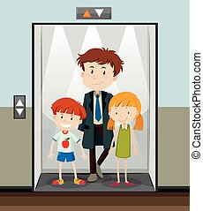 usando, subir, elevador, pessoas
