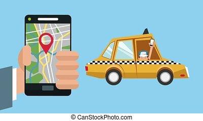 usando, tassì, app, con, smartphone, hd, animazione