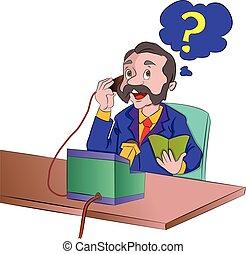 usando, telefone, antigas, ilustração, homem