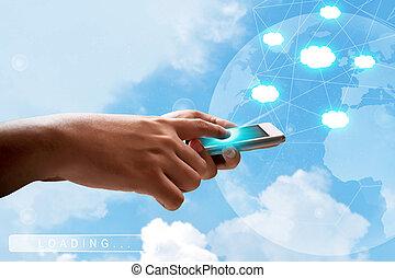 usando, telefone móvel, e, selecionar, nuvem, tecnologia