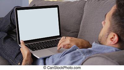 usando, tipo, laptop, divano