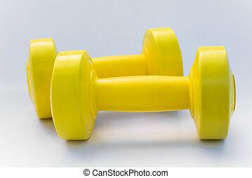 usando, treinamento, dumbbell, peso