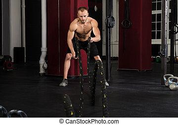 usando, treinamento, ginásio, Cordas, homem