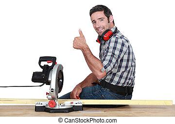 usando, woodworker, serra, circular