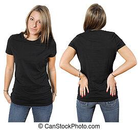 usar preto, camisa, femininas, em branco