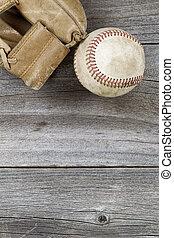 usato, baseball, e, alterato, manopola, su, vecchio, legno