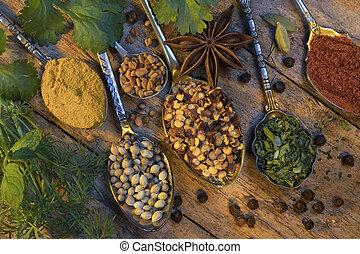 usato, cottura, erbe, aggiungere, aroma, spezie