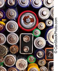 usato, vecchio, riciclaggio, alto, batterie, angolo, vista