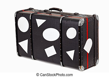 usato, vecchio, viaggiare, valigia, vuoto, adesivi