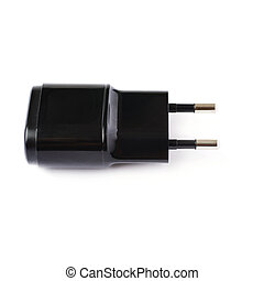 Usb adapter charger isolated over the white background