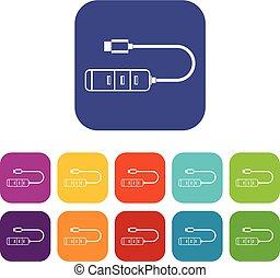 USB adapter connectors icons set