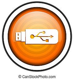 usb, aislado, brillante, plano de fondo, naranja, blanco, icono