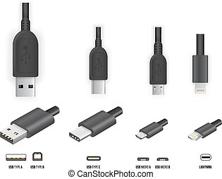 USB all type - Top and perspective 3D view USB type A, B and...