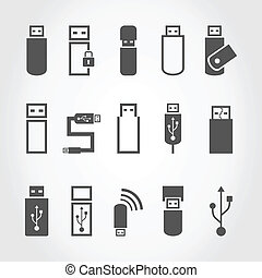 Usb an icon - Set of icons the store the computer. A vector...