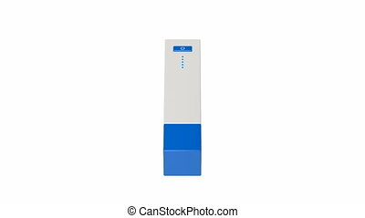 Usb battery pack spin on white background