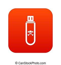 usb, blitz, fahren, infected, digital, rotes , ikone
